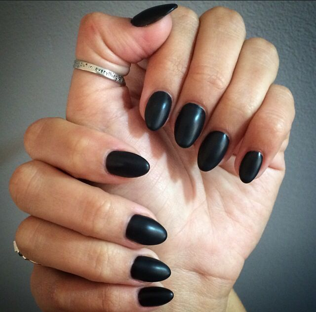 Black Matte Almond Nails #ByMargarita | nails | Pinterest