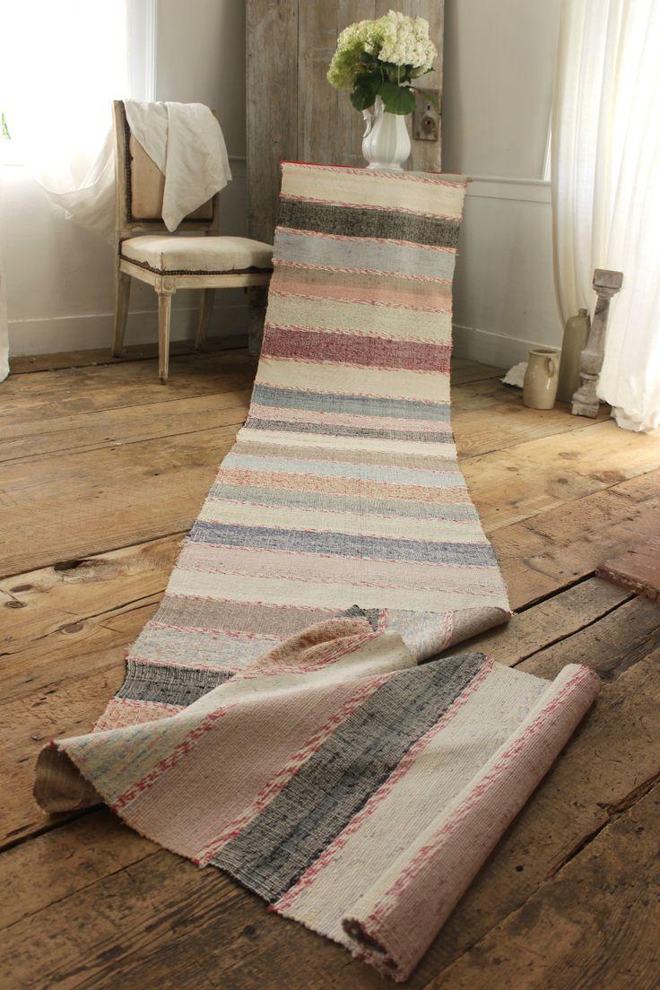 Rag rug vintage european carpet stair runner area rug 4 7 for Woven carpet for stairs