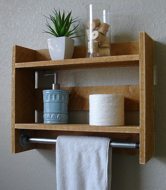Simply Industrial Rustic Bathroom Wall Shelf With 18 Metal Towel Bar