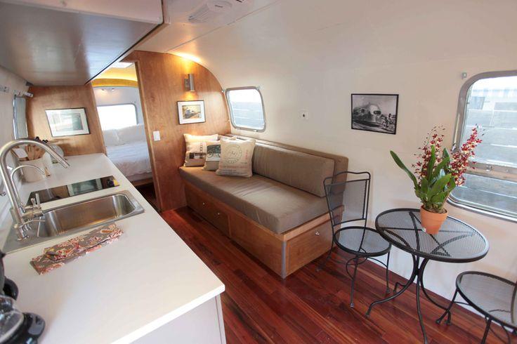 restored airstream interior vintage trailer remodel pinterest. Black Bedroom Furniture Sets. Home Design Ideas