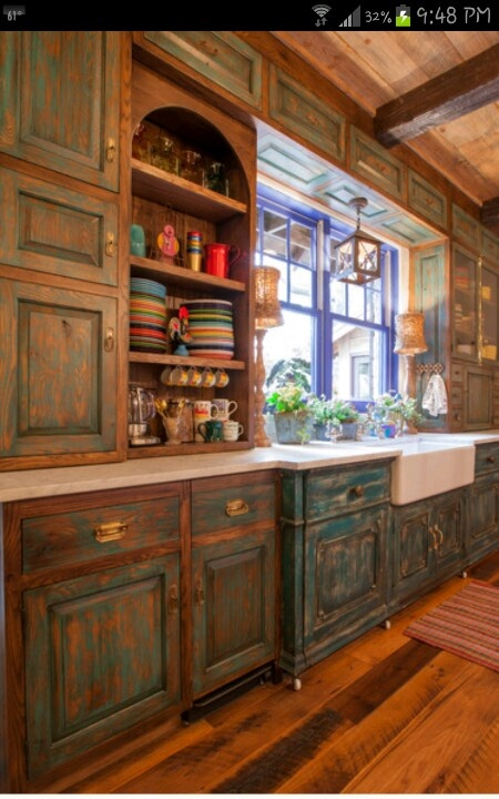 Kim  distressed turquoise cabinets???  For the Home  Pinterest
