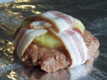 bacon wrapped pineapple turkey burgers~ YUM