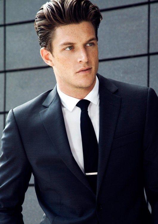 black suit and blue tie - photo #40
