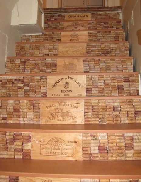 Put A Cork In It! Awesome Wine Cork Crafts & Decor /// Wine cork covered stairs @Judith Zissman de Munck Gilroy This would be cool for the steps from the garage into the house!!! Have Dad save his corks & I'll save mine. Get the hot glue and we're good to go next time I'm home :-)