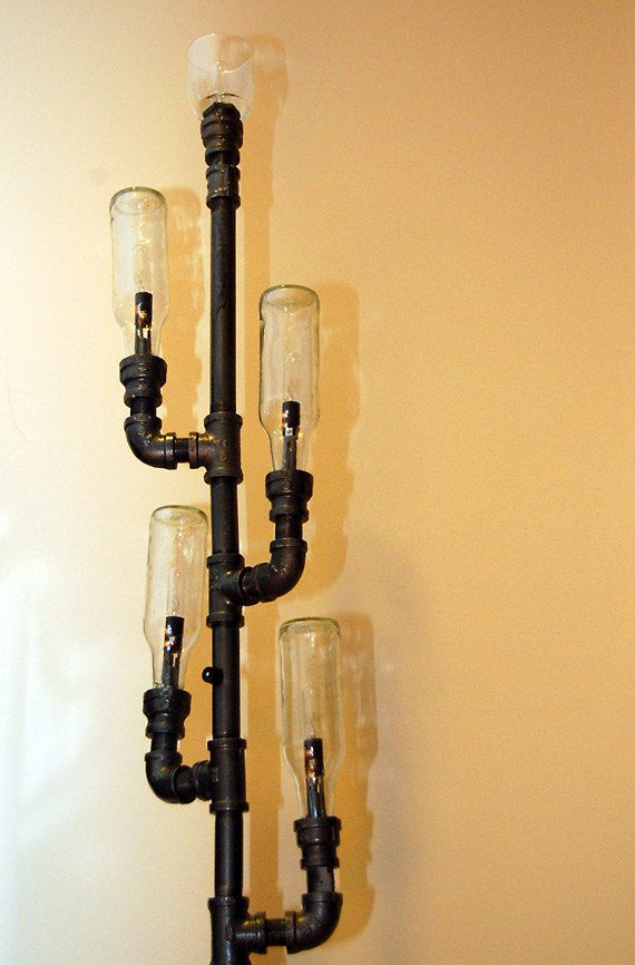 Industrial floor lamp steampunk pipe lamp recycled for How to make a pipe lamp