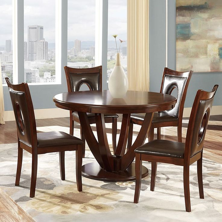 Inspire q miraval 5 piece cherry brown round dining set for Complete dining room sets