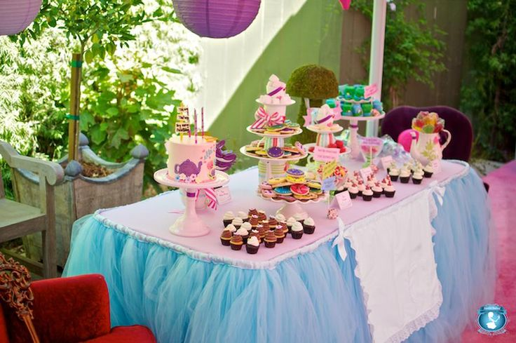 party with blue tulle skirted table