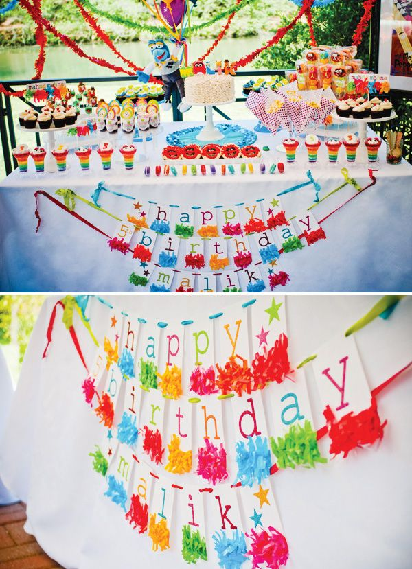 **I love this banner **  AMAZING {Rainbow} Muppets Themed Birthday Party