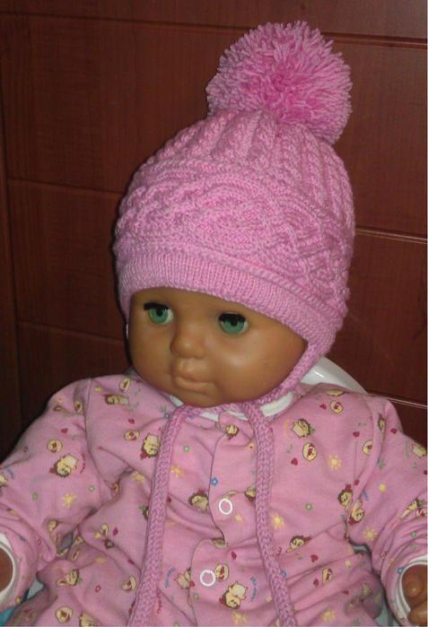 Вязание тёплых шапочек для девочки спицами