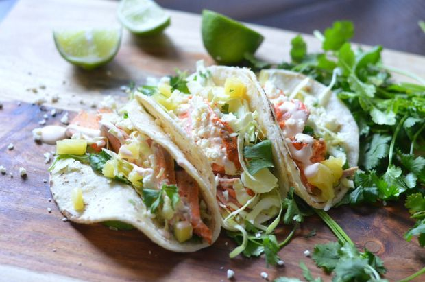 Grilled Salmon Tacos with Chipotle Lime Crema and Fresh Cilantro Slaw ...