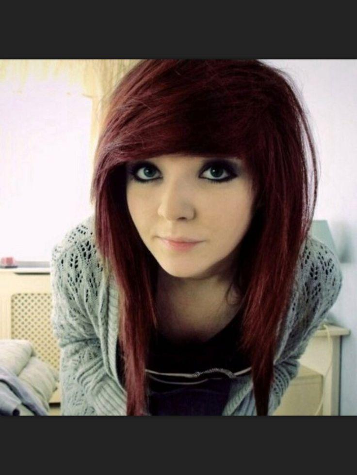 dark red scene hair hair �� pinterest