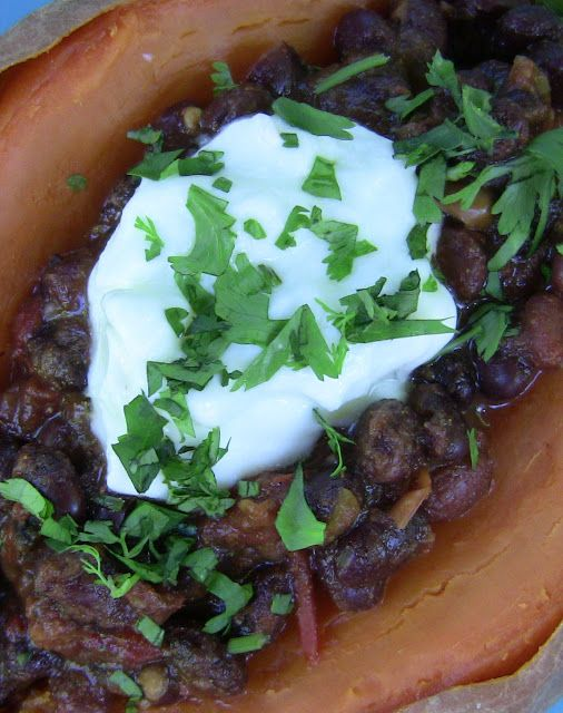 Black Bean Chili-Topped Sweet Potatoes -- 2 medium sweet potatoes 1 15 ...