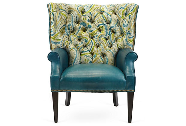 Peacock tufted chair for Cameron tufted chaise peacock