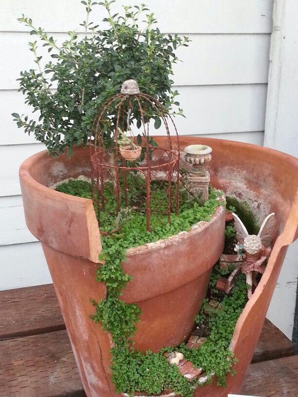 Broken pot garden fairy garden pinterest - Fairy garden containers ...
