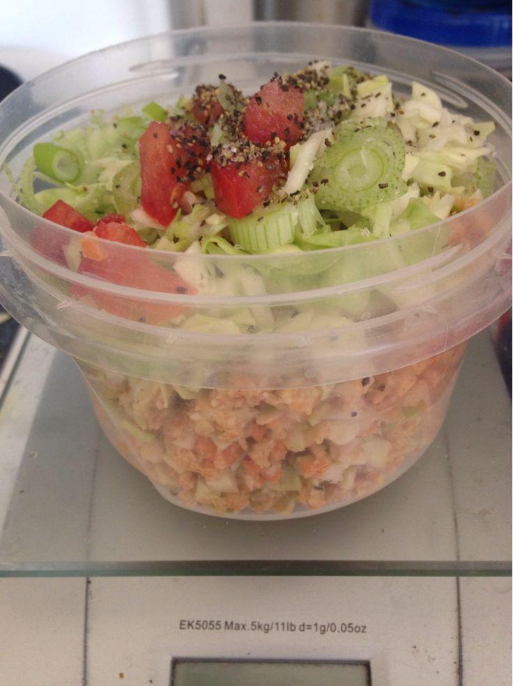 """Quinoa with Raw cauliflower & carrot """"rice"""" seasoned with chili..."""