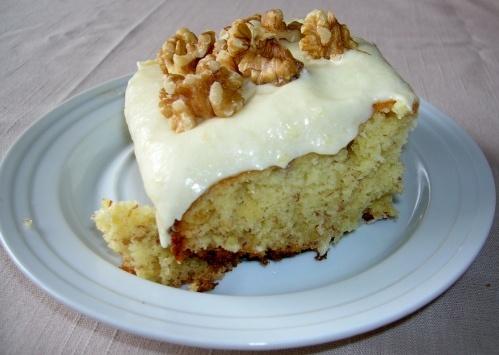 QUICK BANANA CAKE - 1 (18.5 oz) box Yellow Butter Cake Mix, 2 eggs, 1/2 C evaporated milk, 2 ripe bananas, 1 stick butter or margarine, FROSTING: 1/2 C butter or margarine, 1 ripe banana, 1 (8 oz) cream cheese, 3 to 3 1/2 C confectionery sugar, 1 tsp vanilla flavoring {9X13 PAN}