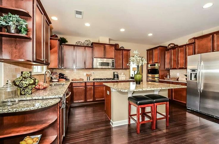 Flat island home pinterest for Open kitchen layout