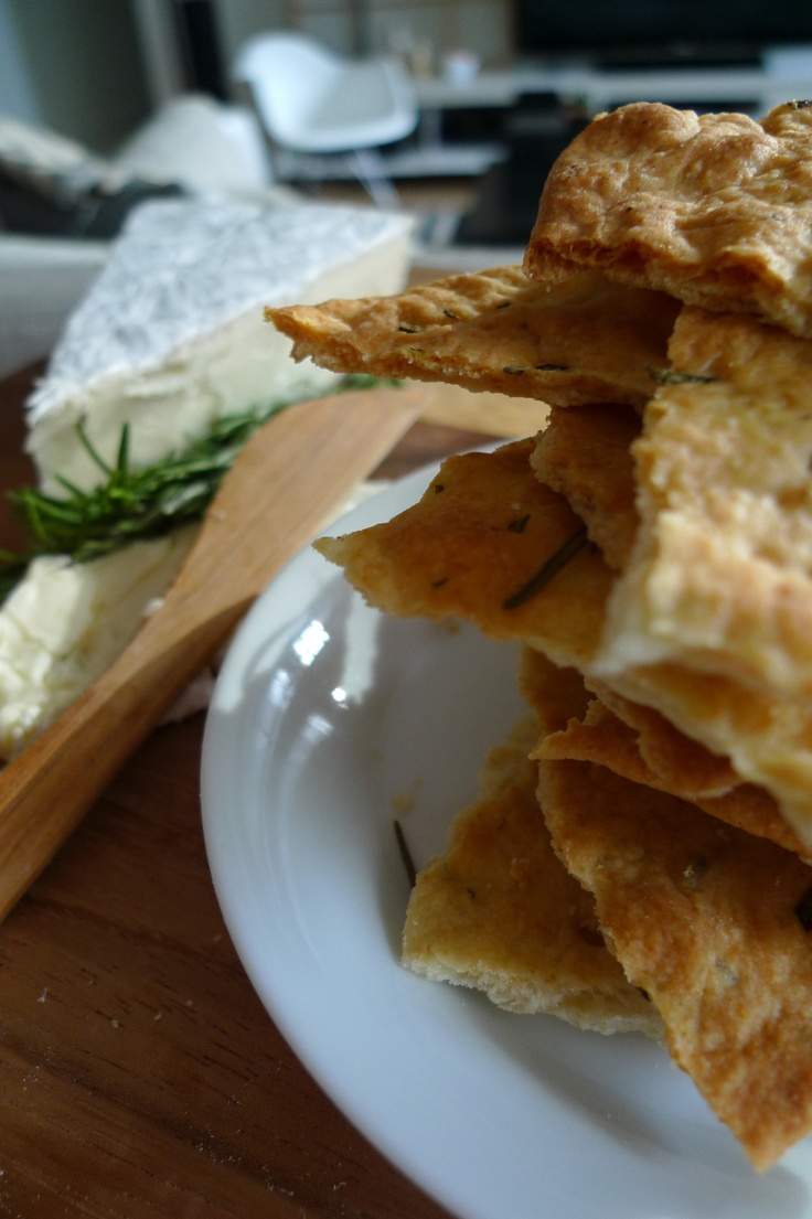 Crisp Rosemary flat bread with Brie and olive oil