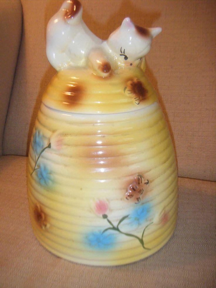 Vintage american bisque cat kitten on beehive cookie jar 1950s art po - Beehive cookie jar ...