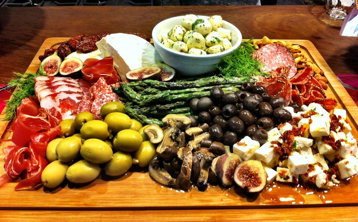 Antipasto Platter with delicious cheeses, fresh grilled-then-chilled ...