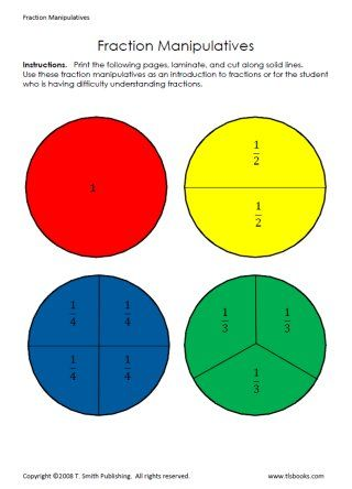 Fraction Manipulatives - If you print, laminate, and cut out these ...