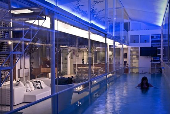 Living Room Laps Stunning Clear Glass Indoor Swimming Pool