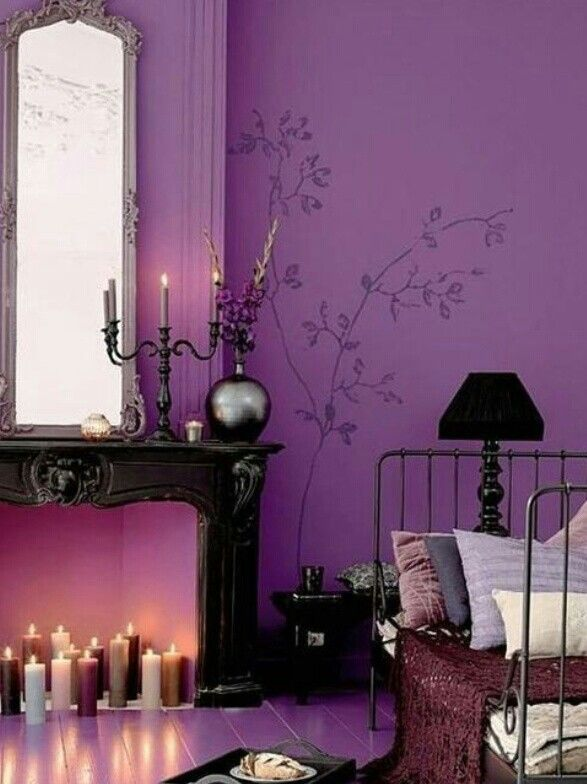 Gothic purple bedroom purple decor living inspiration for Purple gothic bedroom
