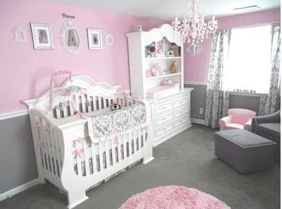 Pretty Baby Girl's Pink and Gray Princess Nursery Room with gray, white and pink damask crib bedding set.