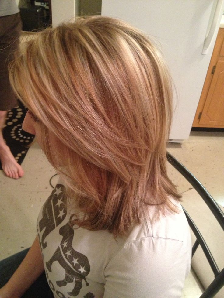 Blonde hair with lowlights, medium length. My sister in law did an ...