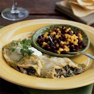 Creamy Spinach-Mushroom Skillet Enchiladas | MyRecipes.com