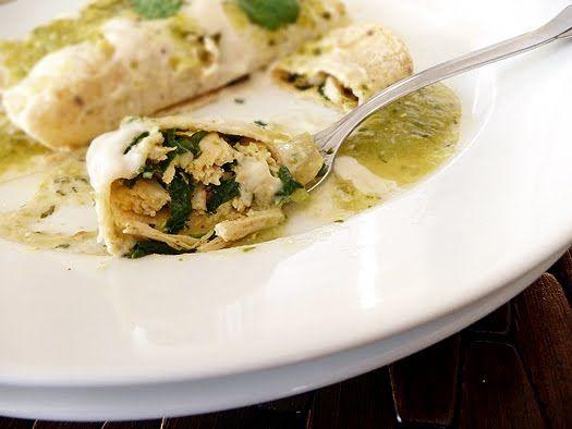 Chicken, Black Bean, and Spinach Enchiladas. Tex-Mex, anyone? Yum!