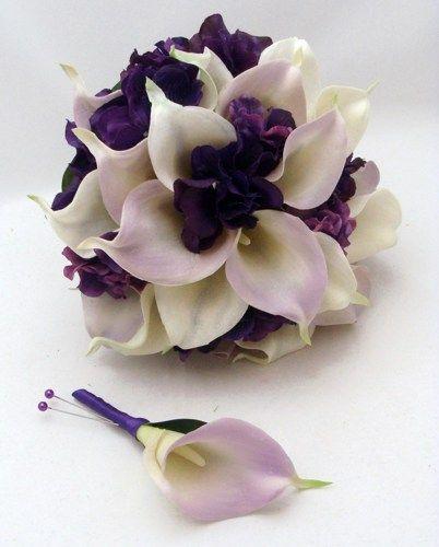 Bridal Bouquets Calla Lilies And Hydrangeas : Purple calla lily hydrangea bouquet wedding ideas and