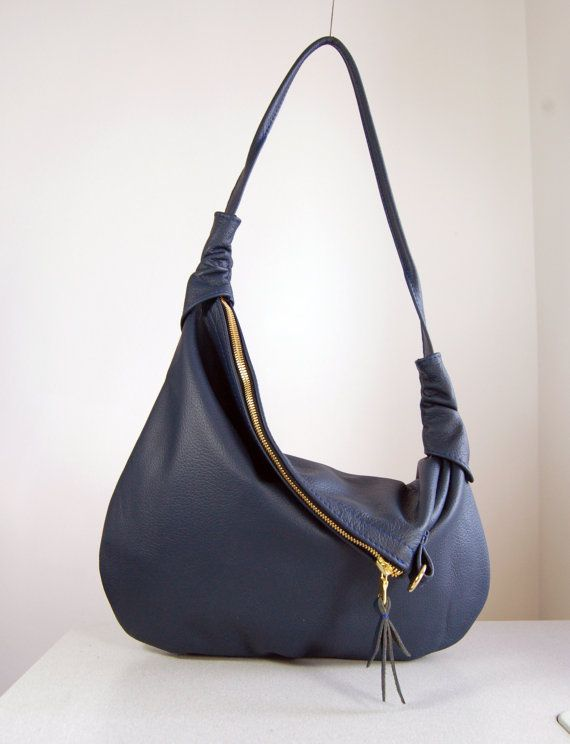 Rosaire Navy Blue Leather Hobo Shoulder Bag by delacyonline, 160.00