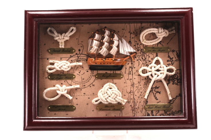 Vintage Heritage Mint Nautical Shadow Box With Mayflower and Sailor's Knots.