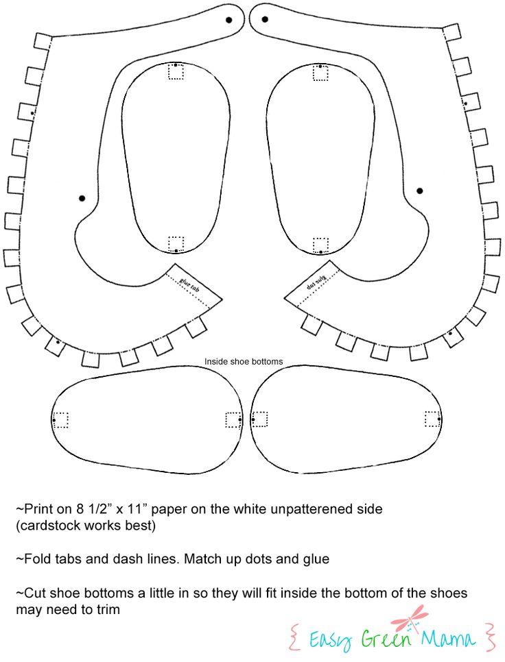 Шаблон для бумаги детская обувь