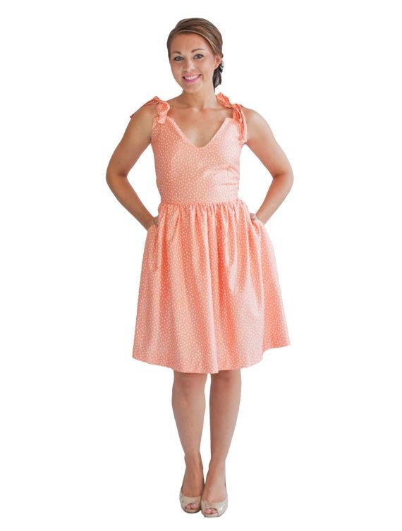 Womens Sundresses Peach Dress Polka Dot By