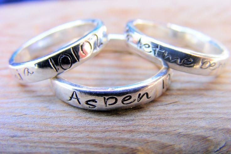 sterling silver stacking ring mothers ring engraved ring. Black Bedroom Furniture Sets. Home Design Ideas