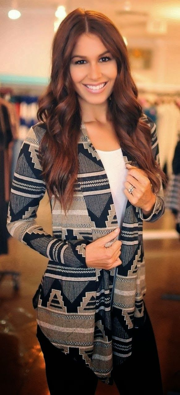 Aztec Cardigan Plus Black Jeans And White Blouse