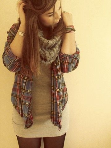 Leggings, fitted dress, open flannel, and scarf. easy, warm and cute
