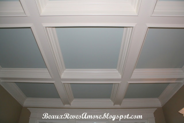 shallow coffered ceiling with tin dining