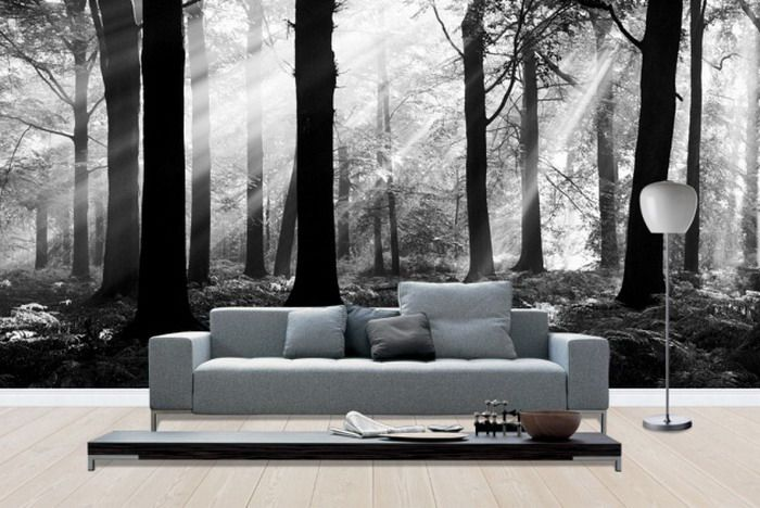Modern living room ideas with full wall mural art wide view from full