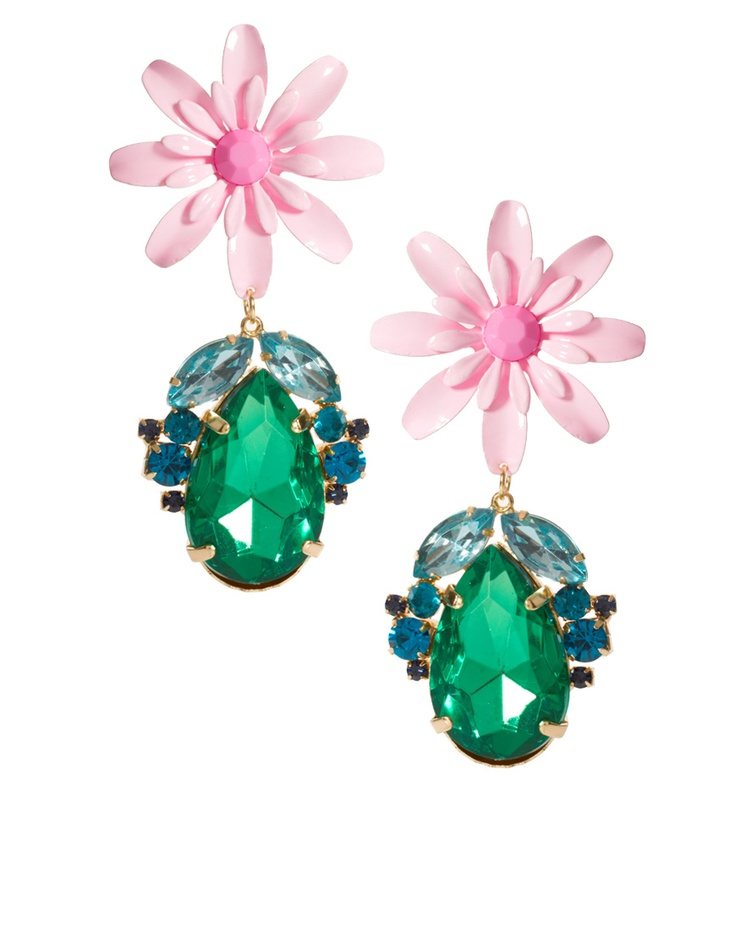 Nice alternative to Miu Miu statement earrings - emerald and pink #jewellery and #fashion