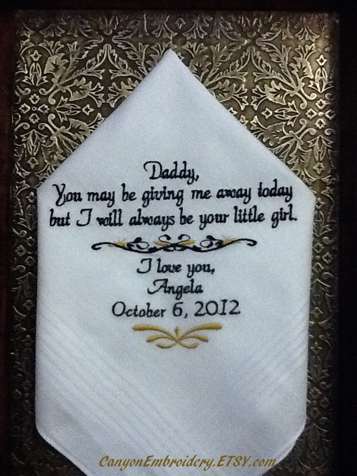 Personalized Wedding Gift For Brother : Personalized Hanky Wedding Gift Handkerchief from the Bride to her Fa ...