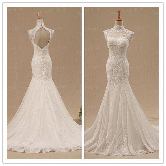 Custom lace wedding dress open back bridal gown high for Open back lace wedding dress
