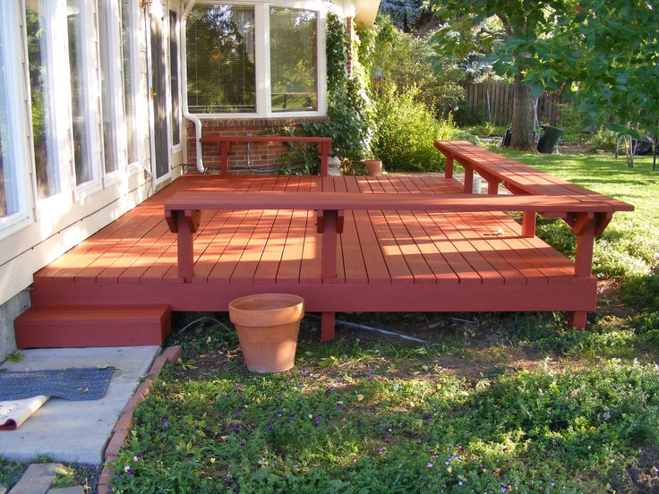 Simple deck w bench outdoor living pinterest for Small deck seating ideas