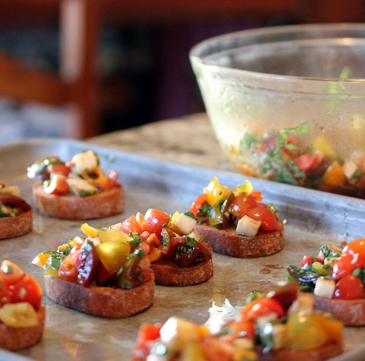 Caprese Bruschetta. My family loves it when i make this.