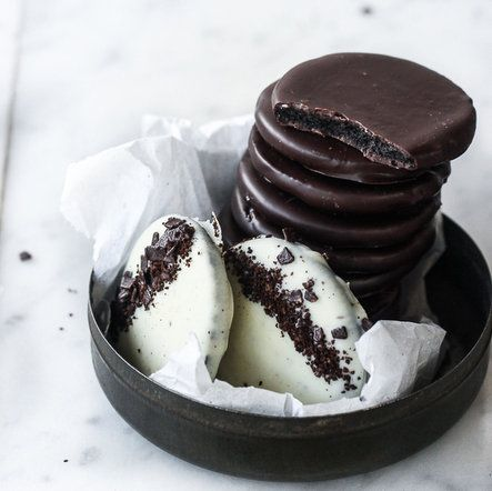 Homemade Thin Mints! - Oreos separated and dipped in mint chocolate ...