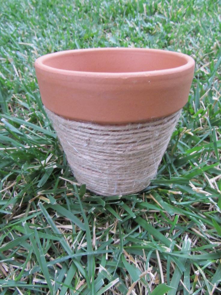Twine hot glue terracotta pot nancy 39 s handmade art for Terracotta works pots