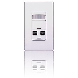 Leviton OSSMT-GDW no neutral multi-technology designer wall switch occupancy sensor, white. (Whew.) $57.89 at Smarthome. Excellent reviews. Turns lights on and off based on room occupancy -- has both infrared and ultrasonic sensors plus will not turn lights on when room is adequately illuminated by natural light. Works with compact fluorescent lights (less expensive models do not). On/off push button. Nice for garage, bathrooms, walk-in-closet, stairway to nowhere closet, hall. (Need 5.)
