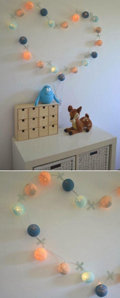 DIY heart lights. #kidsdecor